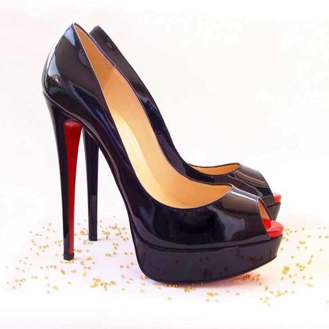 93b50eca902 Red Bottoms High heels Patent Leather Peep Toe Pumps Hyper Prive 120mm Shoes  Nude   Black Women Red sole shoes Wholesale