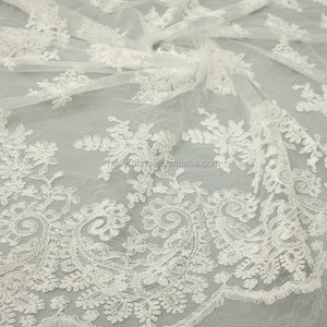 Embroidery lace sequins wedding dress material pakistani bridal white tulle lace fabric HY0334