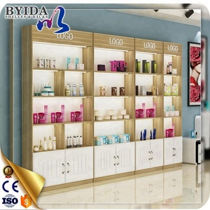 Modern Wood Cosmetic Product Display Shelf Stand