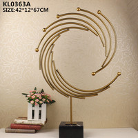 Modern home decoration pieces metal art sculpture with marble base