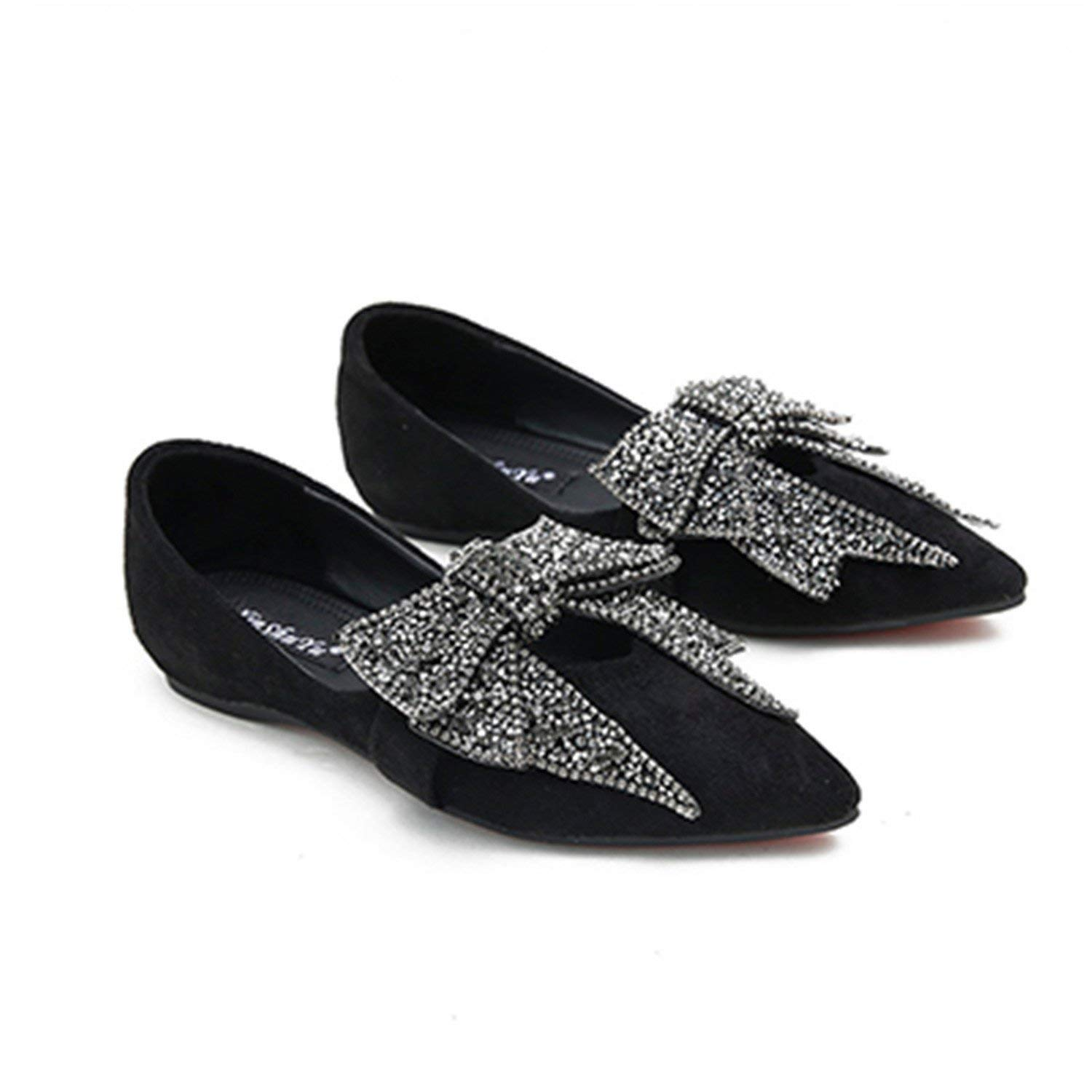 4351a5f44e Get Quotations · Feilongzaitianba Shoes Ladies Leather Shoes Womens Pointed  Toe Dress Shoes Woman Black Woman Flat Shoes Heels