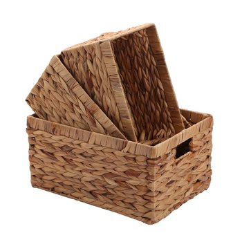Foldable Storage Wicker Baskets,Woven Natural Water hyacinth Box with Handle,Kingwillow Set of 3