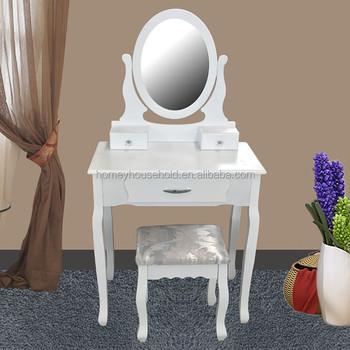 Bianco tabella di preparazione ovale specchio e sgabello set 3 cassetto camera da letto trucco - Specchio ovale camera da letto ...