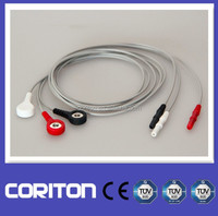 DIN connector 3 lead ecg cable for Biosys, Creative, Datascope, Medrad Veris, Mindray, Nihon Kohden, Air Shileds