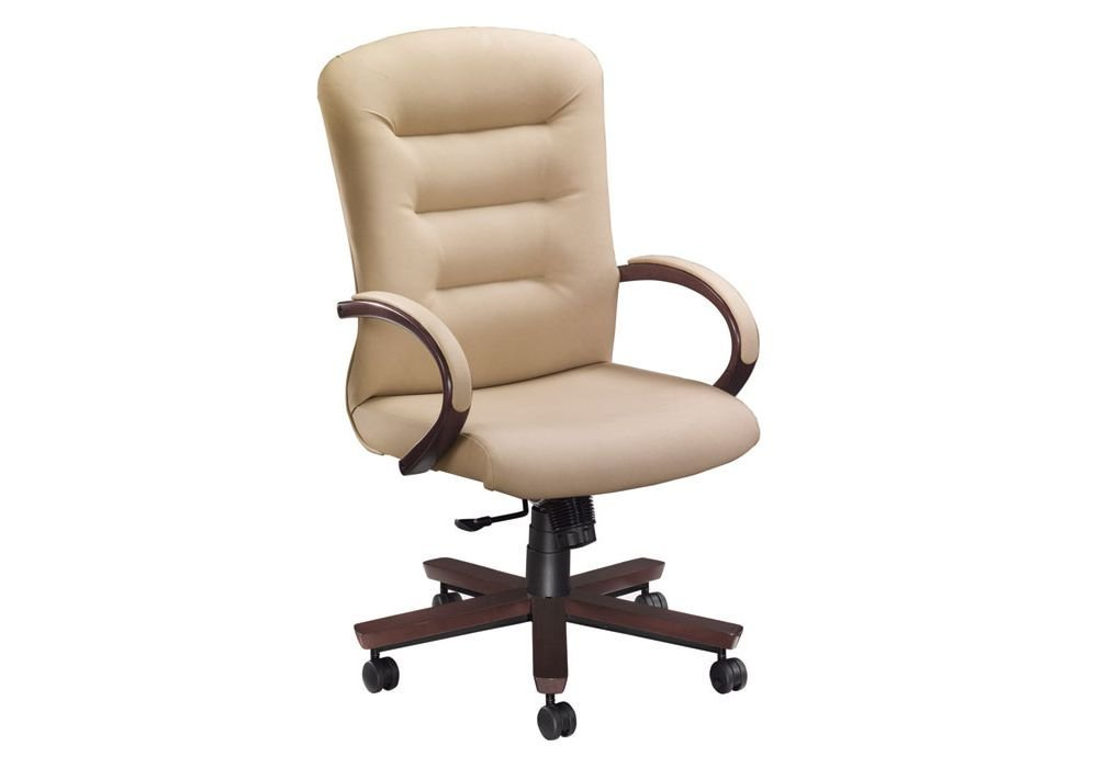 "Remedy High Back Executive Chair Dimensions: 26.5""W x 28.5""D x 40.5-45.5""H Seat Dimensions: 21.75""Wx18""Dx17.25-21.5""H Stone Vinyl/Cordovan Finish"