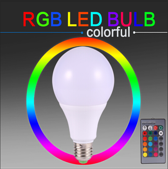 Hotsale E27 RGB Led Bulb Dimmable Lamps Smart Bulb COB 3W 5W 7W Remote Control 16 Color Changeing 110V 220V IR Remote Control