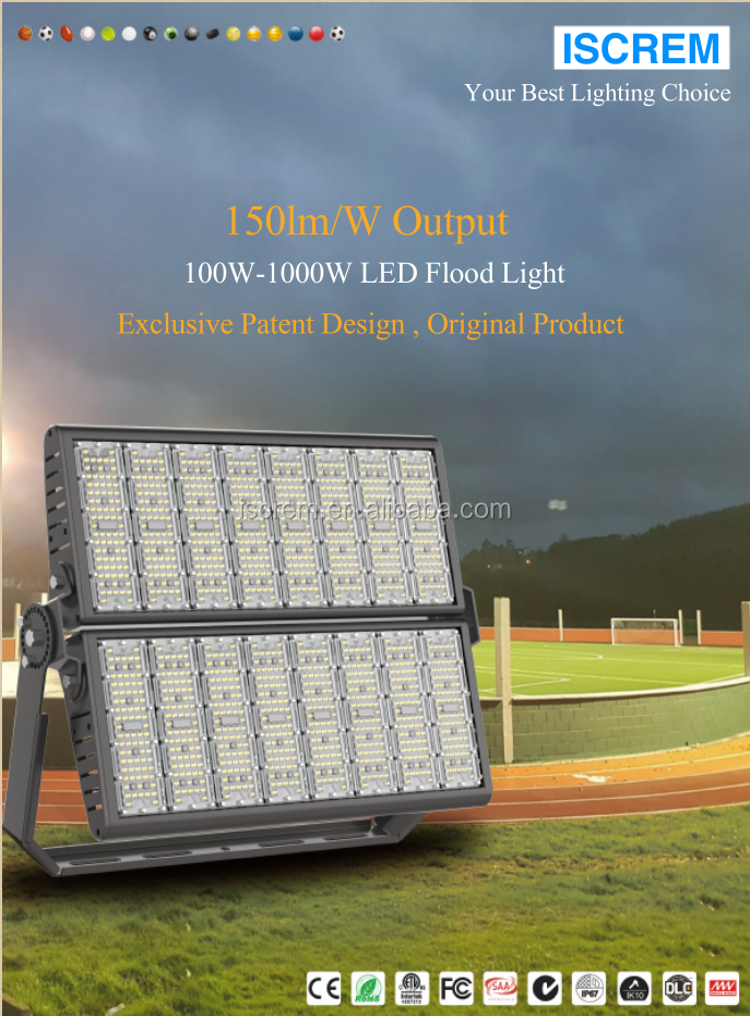 Ip67 방수 야외 100W 200W 300W 400W 500W 600W 800W 1000W 경기장 조명기구 dimmable Led 홍수 빛