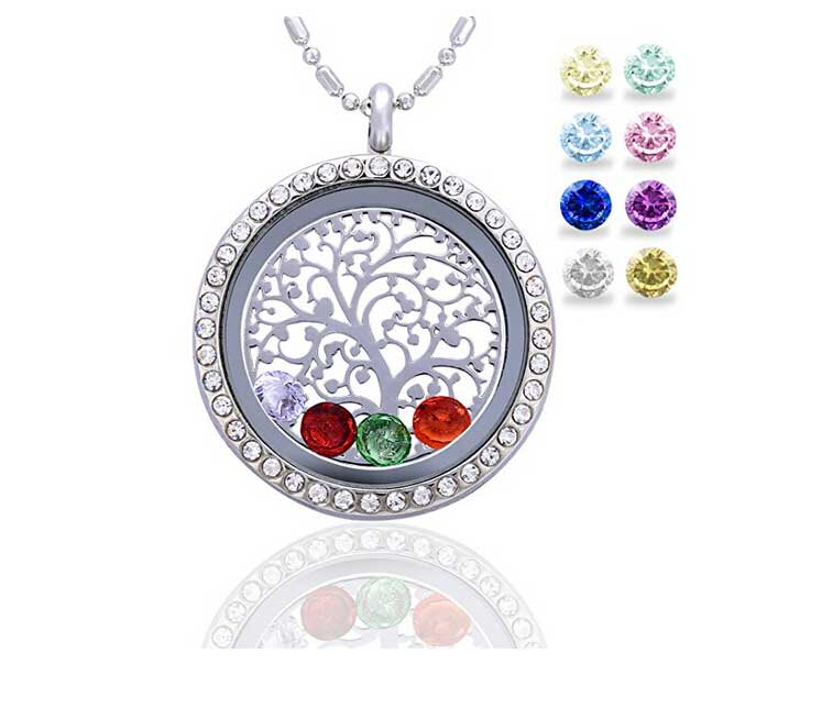 ddc68e20d02c Floating Living Memory Locket Pendant Necklace 925 Silver Family Tree of  Life With Birthstone Necklaces
