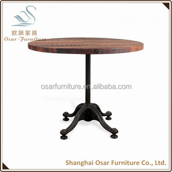 Osar Rustic Furniture Industrial Metal Base Round Wood Coffee