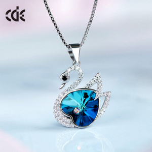 Crystals From Swarovski Fashion Women Jewellery 925 Sterling Silver Swan Pendant Necklace