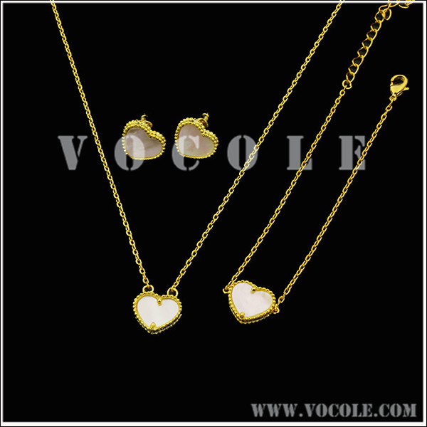 Heart pendant Gold chain Necklace with Bracelet Jewelry set