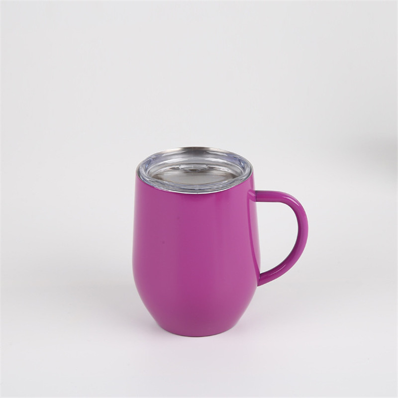 12 oz Wine Cup with Handle Insulated mugs Stainless Steel Tumbler Glass with Lid Double Wall Vacuum coffee mug