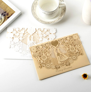 Wholesale high quality Chinese Cheap Wedding Invitations Laser Cut Wedding Cards