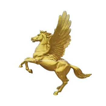New product fiberglass Gold Winged Jumping Life Size horse statue