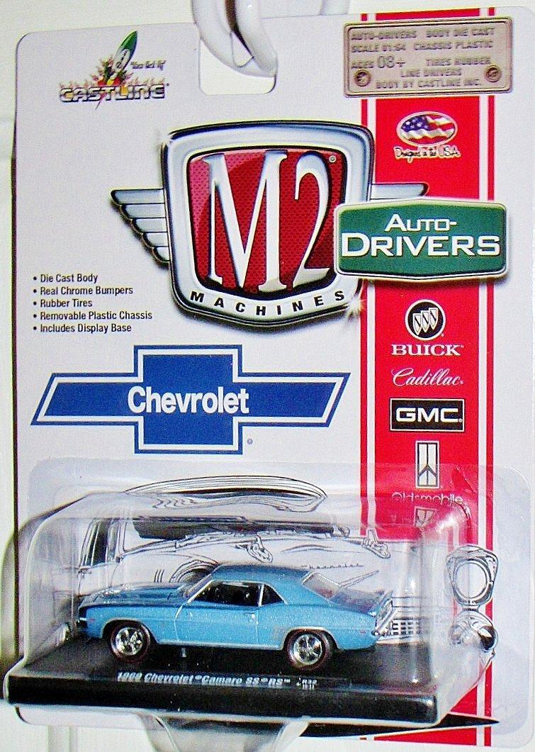 M2 MACHINES Auto-Drivers 1969 Chevrolet Camaro SS/RS Blue with Black Stripe R32 15-11 DIECAST