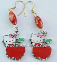 New apple and cat shape charm pendant earring,kids earbob