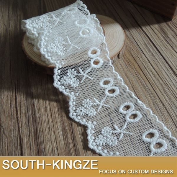 Cloth cotton hollow embroidered white lace trim fabric high quality width 4.2cm