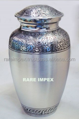 Two Tone Silver Engraved Aluminium Urns
