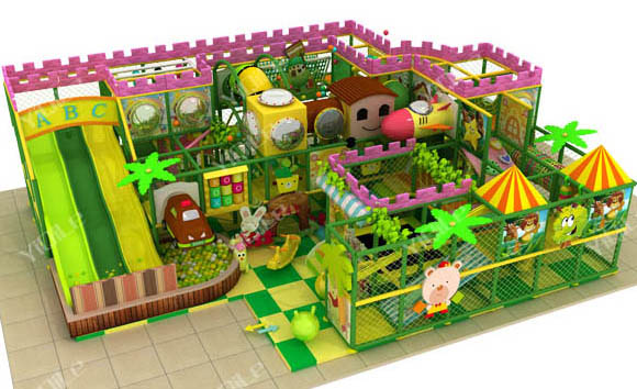 Green farm theme climbing frame Funny soft play equipment kids indoor amusement park