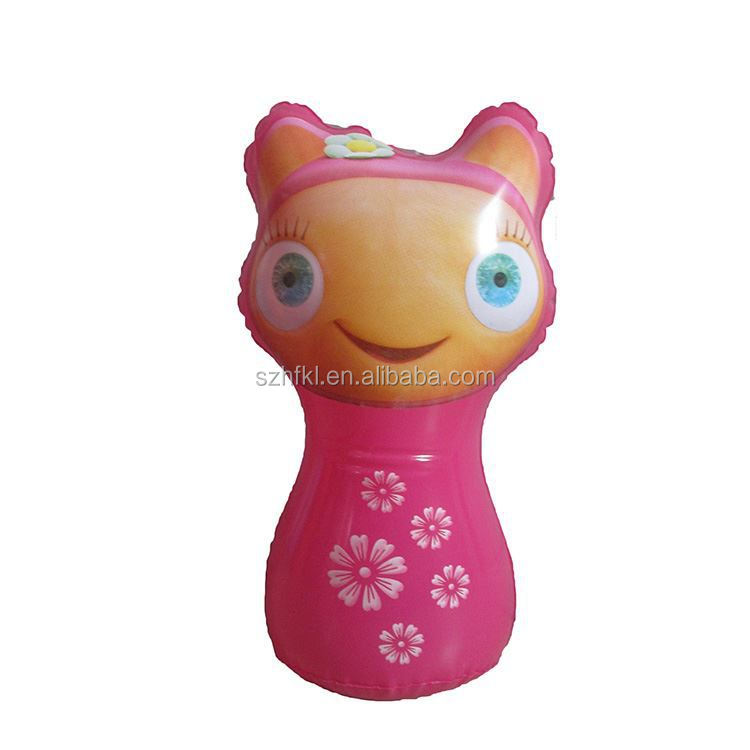 pink big eyes inflatable toy for kids cartoon character,inflatable tumbler