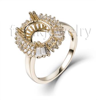 Genuine 585 Yellow Gold Ring Oval Cut 8x10mm Baguette Diamond Semi ...