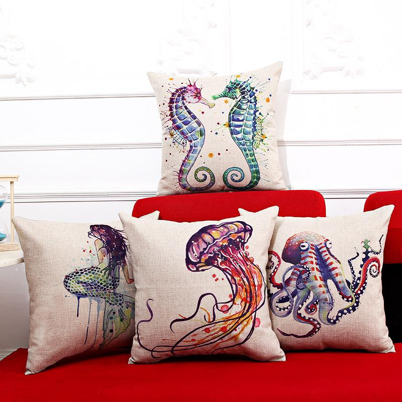 Free Shipping Mermaid Retro Shell Linen Fabric Office Sofa Pillow Hot Sale New Home Fashion Christmas Decor 45cm Car Cushion