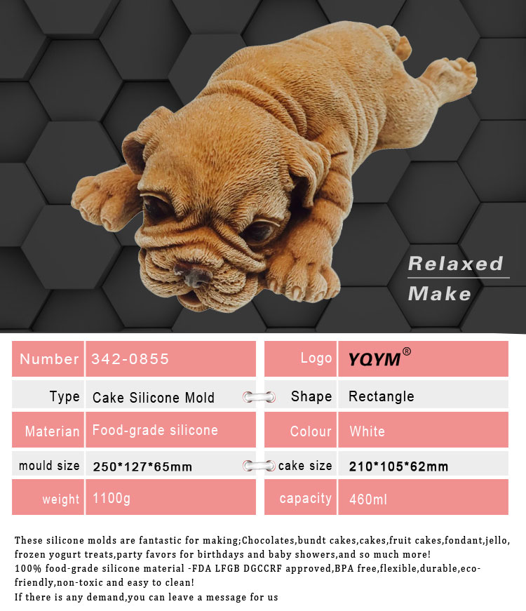 White Food Grade Animal Dog Shape 3D Silicon Cake Mould