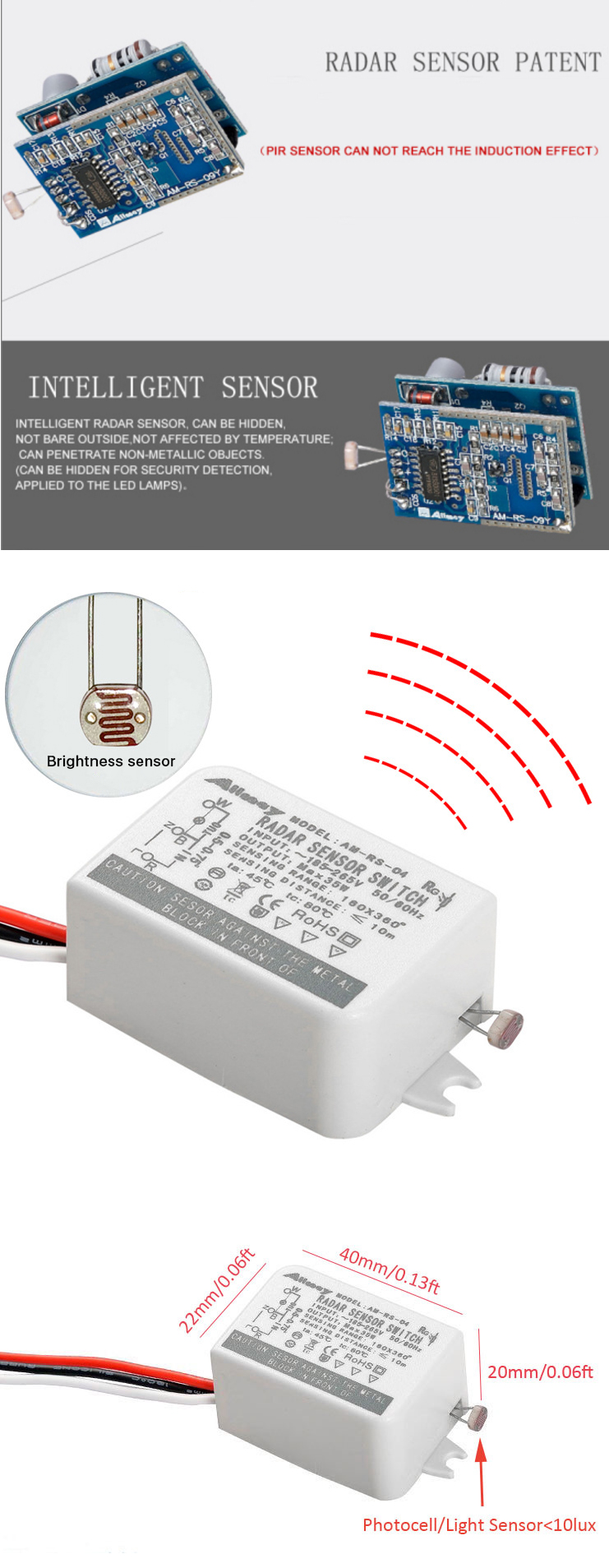 Alibaba China Supplier 35W Square Radar Induction Smart Light Microwave Sensor Lighting Electric Switch