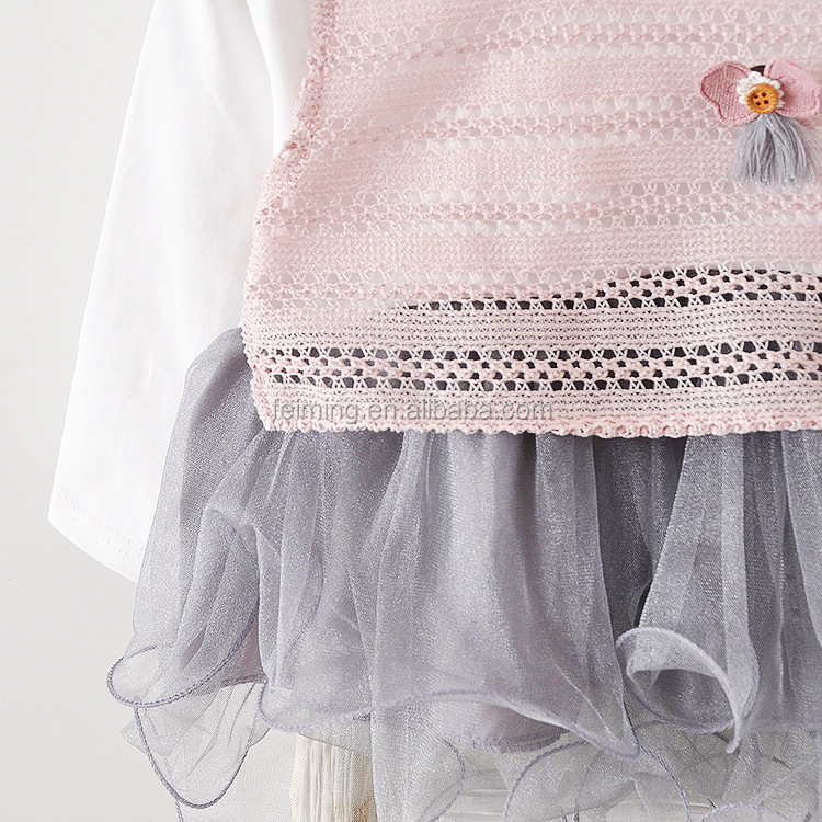 new design autumn spring baby clothes cotton cute knitted vest baby girls dress