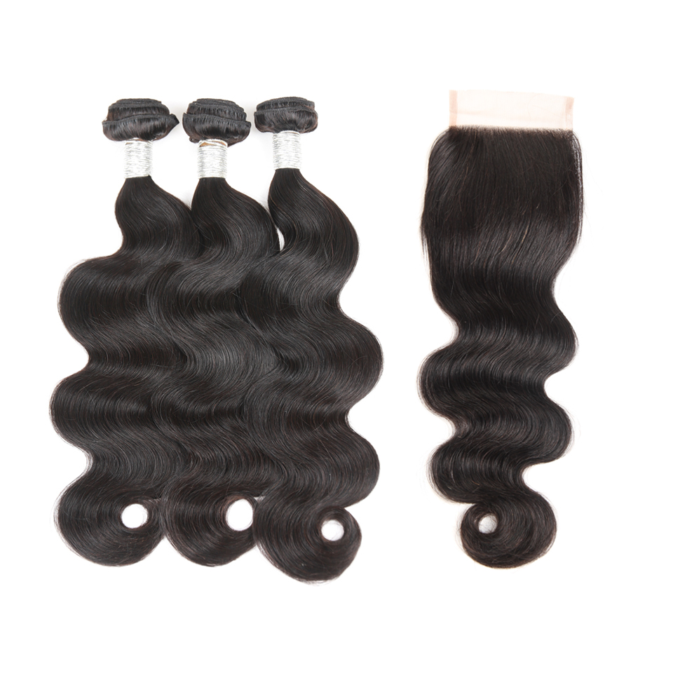 Brazilian Virgin Human Hair Extensions Weave 3 body wave Bundles with 1 lace closure,hair bundles with 4x4 lace closure