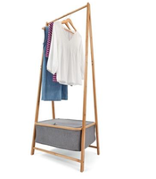Bedroom Bamboo Frame Garment Rack cloth hanger shelf wooden clothing hanging clothes rack with laundry Basket