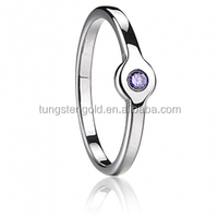 Whole new white gold plated rings with purple CZ diamond setting for women fingers tungsten ring