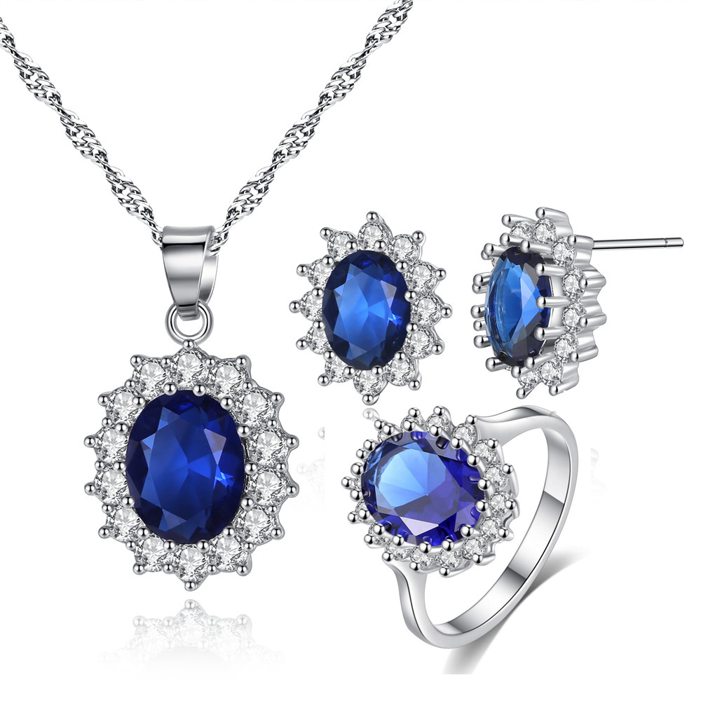 Kate Princess Marriage Jewelery <strong>Set</strong> oval zircon necklace earrings ring Jewelry <strong>sets</strong>