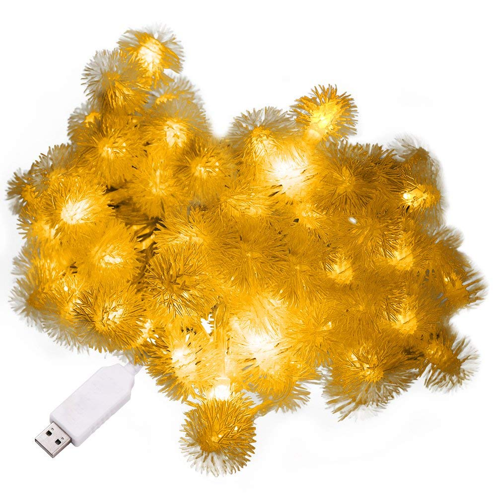 XUNATA 6.6ft/2m LED String Lights, USB Powered Indoor Outdoor Waterproof Fairy Dandelion String Light Party Lighting for Patio Christmas Wedding Bedroom Decoration(Warm White)