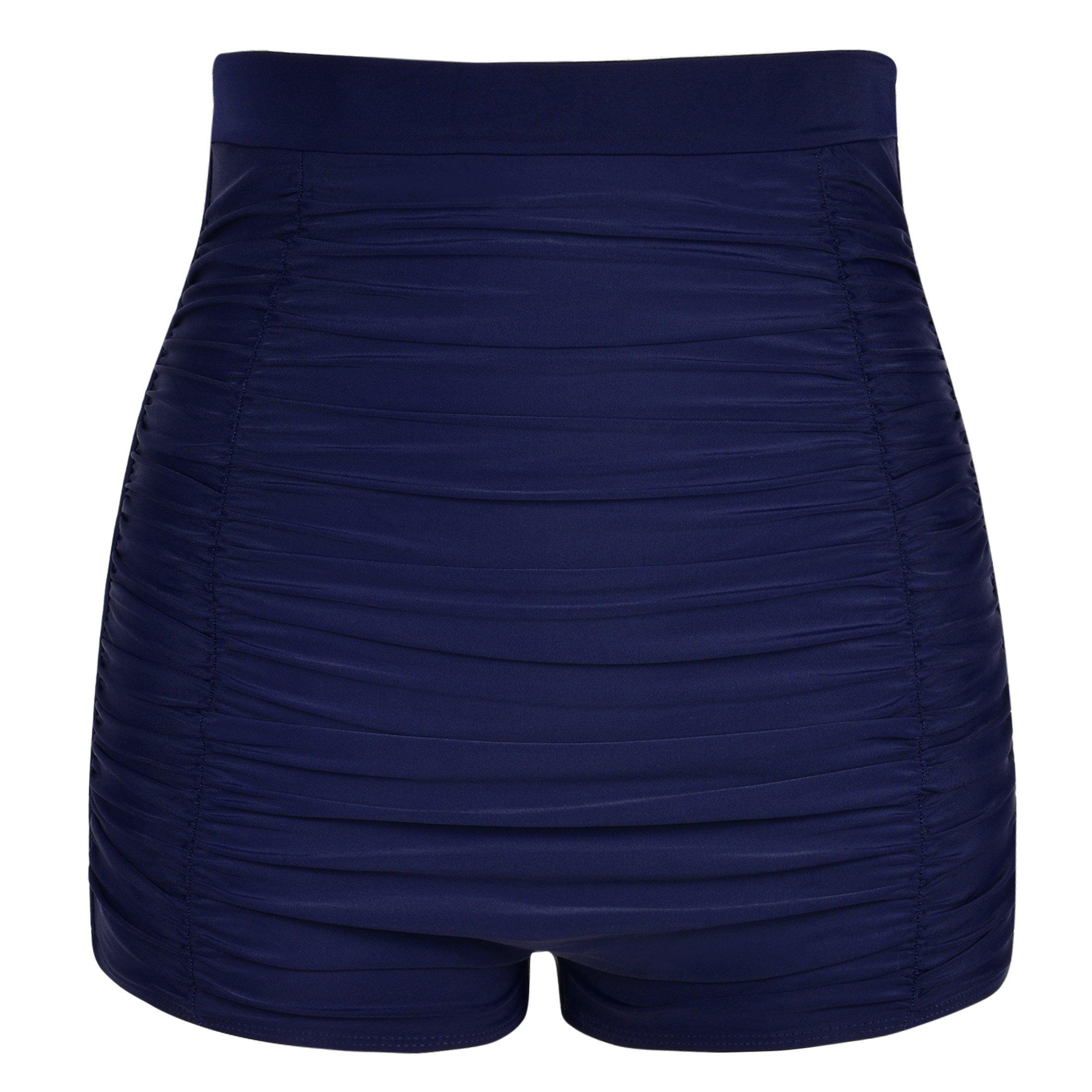 f69da9fb01995 Get Quotations · Hilor Women's Retro Ultra High Waisted Swim Bottom Boy Leg  Tankini Shorts Ruched Swimwear Briefs