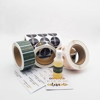 Custom Round Packaging Aluminium Sliver Hot Gold Foil Stamp PVC Labels Stickers Roll Printing