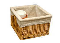 Wholesale woven laundry wicker fabric basket with handles