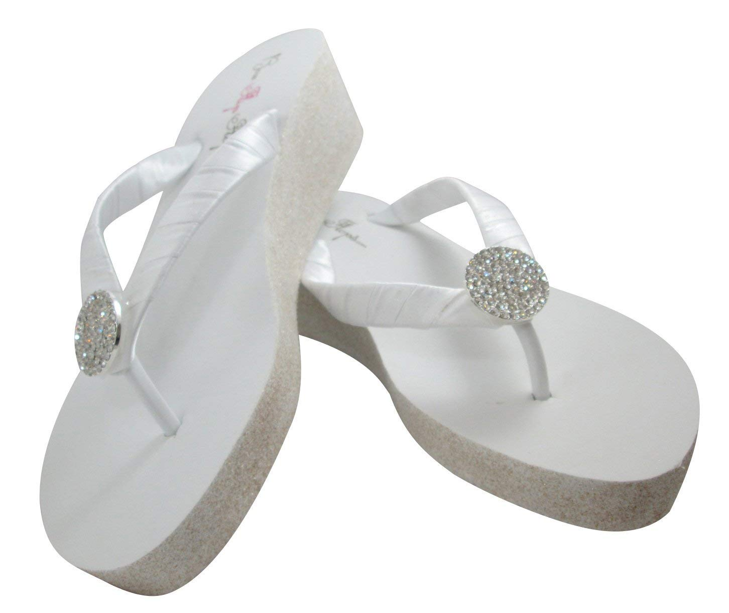 9abc5d0371fc Glitter 2 inch Heel Flip Flops Wedding White Wedges White Silver Glitter  Wedge Jewel Wedding Bridal