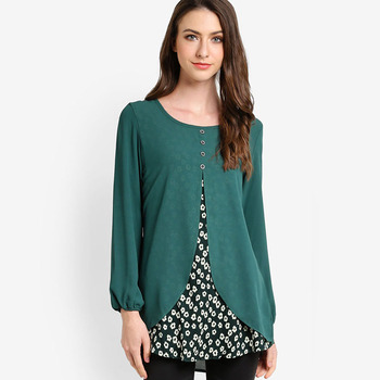 Plus Size Tunic Tops And Blouse 2018 Latest Design Chiffon Muslim Tunic  Wholesale - Buy Plus Size Tunic Tops And Blouse 2018,New Design Layered ...