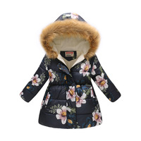 2018 winter children's clothing long cotton clothes girls cute printed hooded cotton child coat