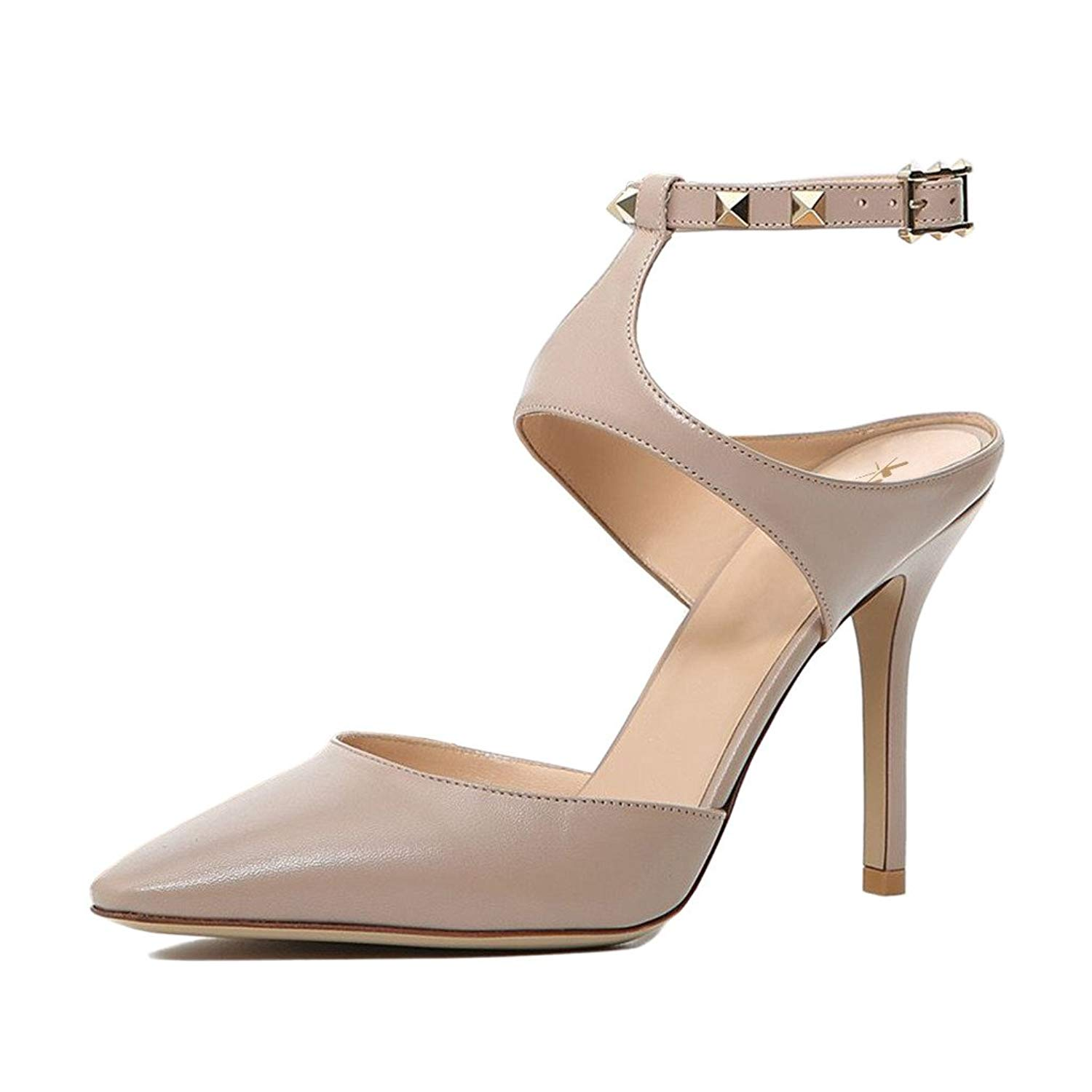 628bc0276f Get Quotations · XYD Elegance Women Pointed Toe Slingback Stilettos Studded  High Heel Sandals Strappy Dress Shoes