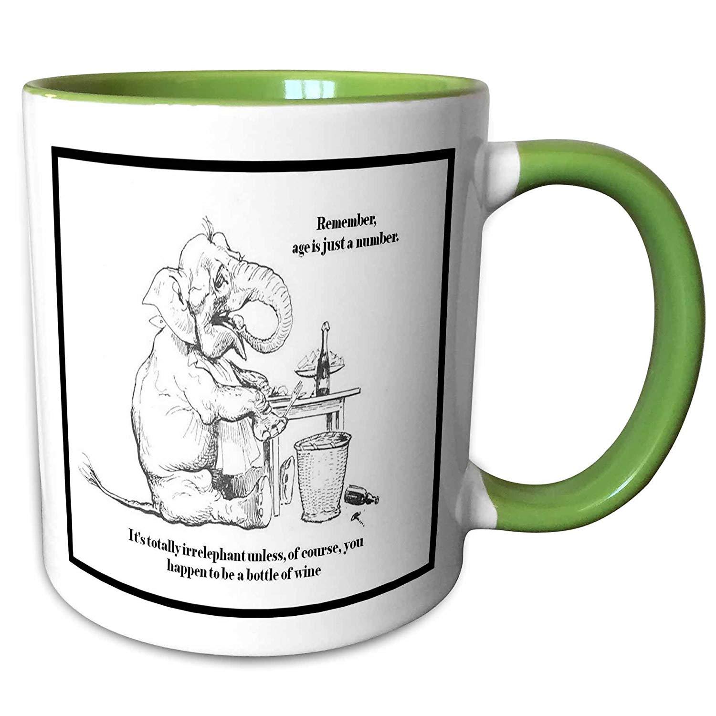3dRose mug_78687_7 Birthday-Caracature, Elephant, Cute, Wine, Age, b Ceramic, Green/White