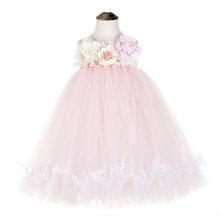 Платье-пачка без рукавов с милыми цветами для девочек-подростков, кружевное платье-пачка с бантом из розового тюля(Китай)