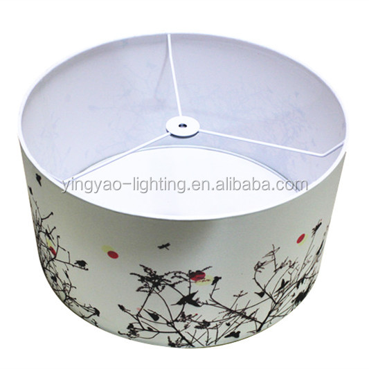 Ceiling Drum Lamp Shade White With Flower Print Lampshade For Pendant Lamps