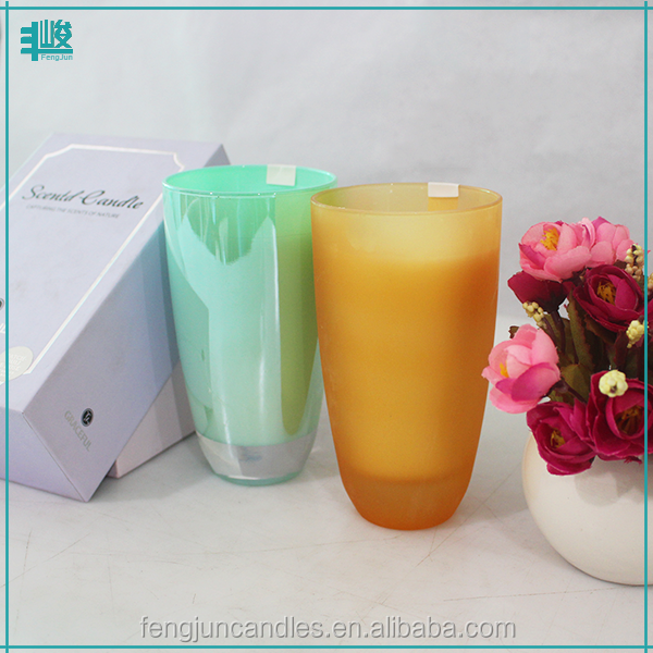 FJ-GB031Box 7 day candle glass wholesale scented gel candle wax color changing candle