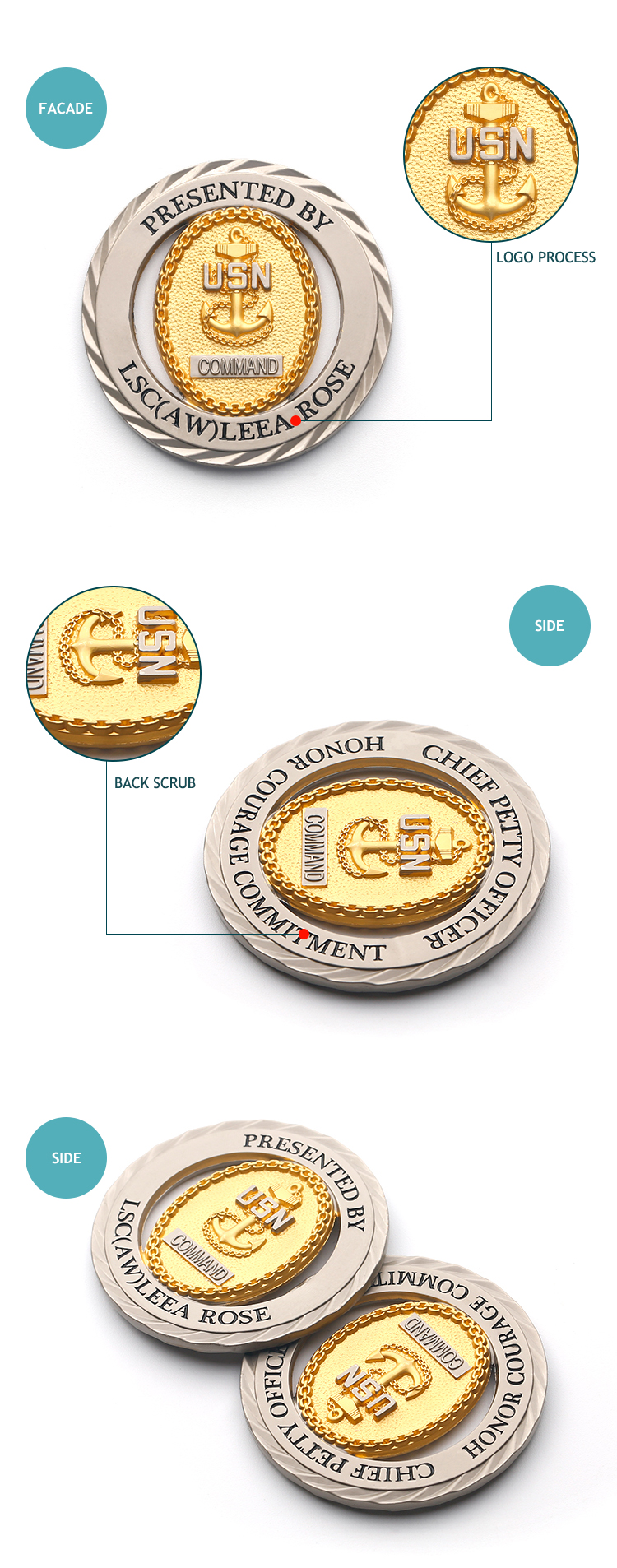 Factory price custom antique metal challenge gold coin