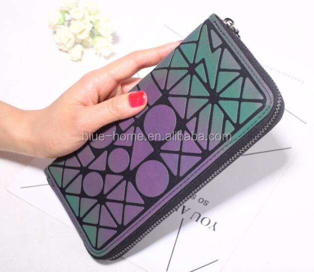 New Long Solid Luxury plaid Women Wallets Fashion Glow in dark Women Wallet Coin Purse