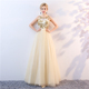 Fashion Light Yellow Appliqued Golden Lace Women Evening Dress