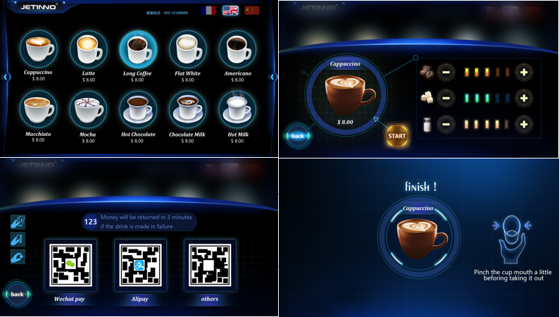 New design iced coffee  machine hot cold coffee vending machine