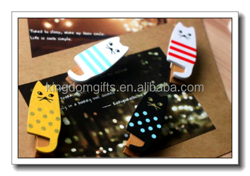 cat printed wood photo <strong>clip</strong>,paper <strong>clip</strong> for wholesale